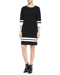 Stripe trim knit dress off whiteblack medium 140911