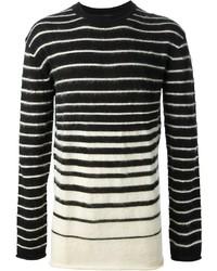 Black and White Horizontal Striped Crew-neck Sweater