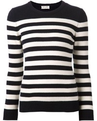 Black And White Horizontal Striped Crew Neck Sweaters For Women
