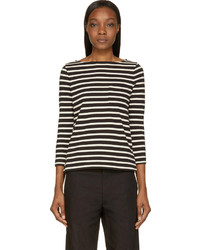 Black cream striped breton top medium 201170