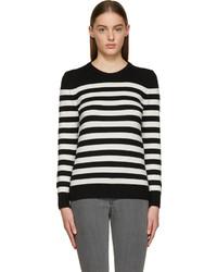 Black white striped cashmere sweater medium 201171