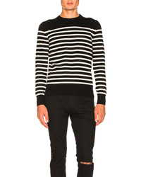 Saint Laurent Cashmere Striped Sweater In Blackstripes