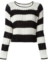 Elizabeth and James Striped Open Knit Sweater