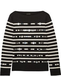 Marc Jacobs Embellished Striped Cotton And Cashmere Blend Sweater Black