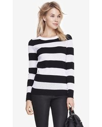 Express Striped Punch Mesh Sweater