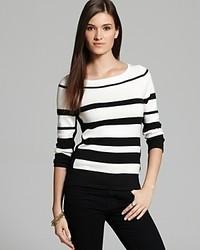 Joan Vass Black And White Stripe Sweater