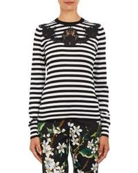 Dolce & Gabbana Lace Appliqu Stripe Sweater
