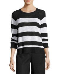 Eileen Fisher Organic Linen Cotton Slub Striped Sweater
