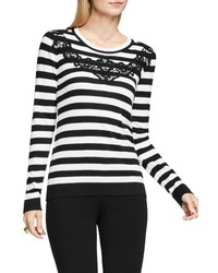 Petite lace trim stripe sweater medium 3649201