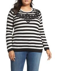 Vince Camuto Plus Size Lace Trim Stripe Sweater