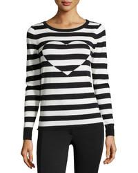 Neiman Marcus Round Neck Striped Sweater W Heart Blackwhite