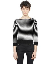 Saint laurent bateau neck striped wool sweater medium 273664