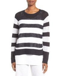 Eileen Fisher Slub Stripe Organic Linen Cotton Top