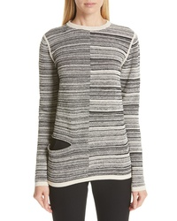 Rick Owens Split Stripe Shred Detail Cotton Blend Sweater
