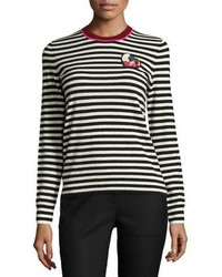 Tory Burch Stripe Print Heart Patch Cashmere Sweater Blackwhite