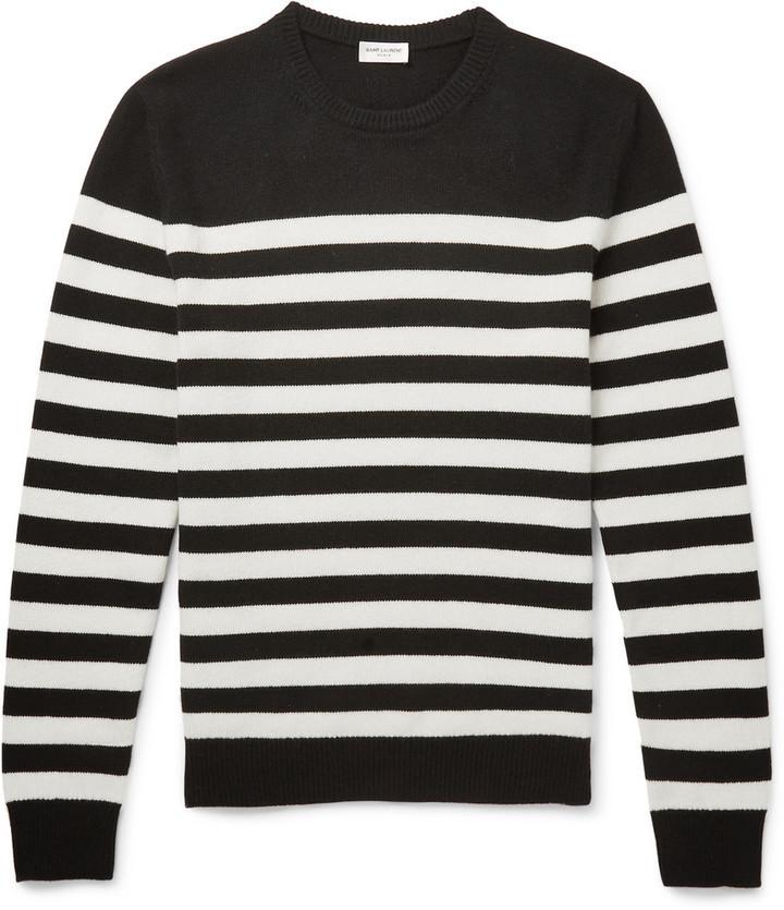 6a834e0c7b98 ... Saint Laurent Striped Cashmere Sweater ...