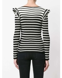 MSGM Striped Frill Shoulder Knitted Sweater