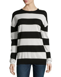 Minnie Rose Striped Long Sleeve Crewneck Sweater Black