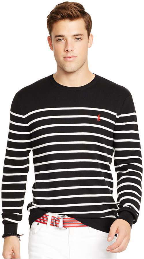 ... Black and White Horizontal Striped Crew-neck Sweaters Polo Ralph Lauren  Striped Pima Crewneck Sweater ...