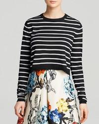 Tibi Sweater Nautical Striped Cropped