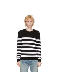 Balmain White And Black Wool Nautical Sweater