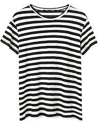 Black and White Horizontal Striped Crew-neck T-shirt