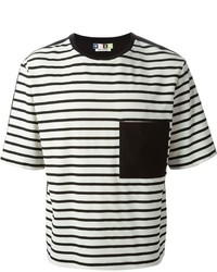 Black and White Horizontal Striped Crew-neck T-shirt