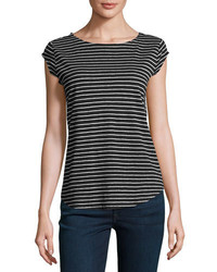 Joie Adelise Striped Cap Sleeve Linen T Shirt Black