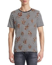The Kooples Floral Striped T Shirt