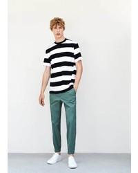 Mango Man Striped Cotton T Shirt