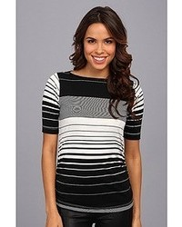 Nally Millie Striped Half Sleeve Ruched Tee