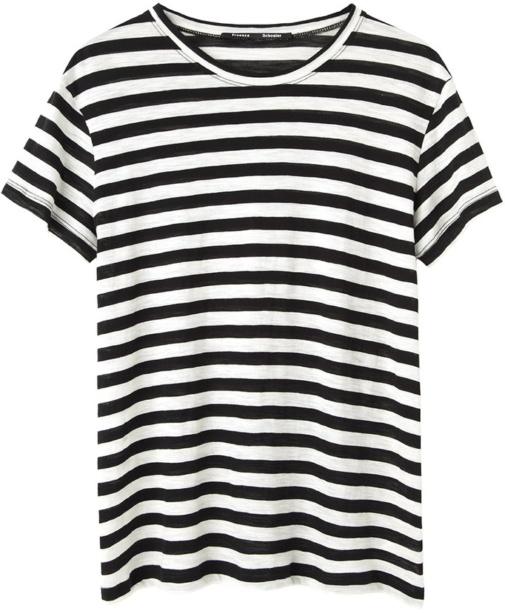 e102d3fb7ca9 ... Black and White Horizontal Striped Crew-neck T-shirts Proenza Schouler  Striped Tissue Tee ...