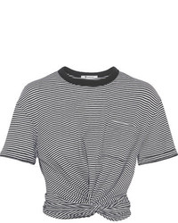 T by cropped twist front striped cotton jersey t shirt black medium 3650136