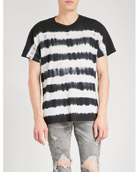 Amiri Tie Dye Striped Cotton Jersey T Shirt
