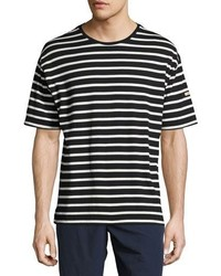 Burberry Totford Striped Cotton Oversized T Shirt Blackwhite