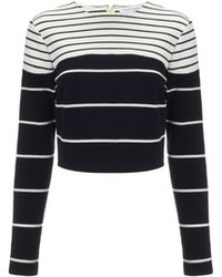 Black and White Horizontal Striped Cropped Sweater