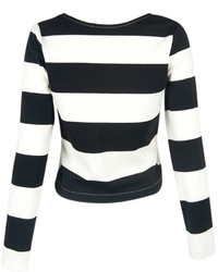 38c33f83b5f1 Choies Black And White Stripe Long Sleeve Cropped T Shirt, $13 ...
