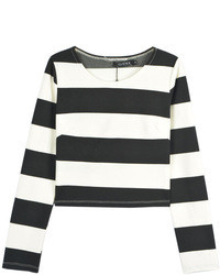 Black and white stripe long sleeve cropped t shirt medium 109942
