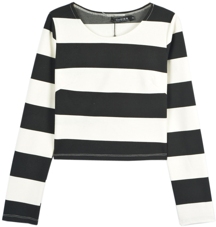 Choies black and white stripe long sleeve cropped t shirt for Black and white striped long sleeve shirt women