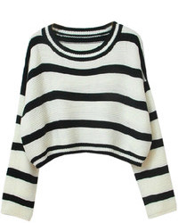 Choies Stripe Loose Crop Sweater