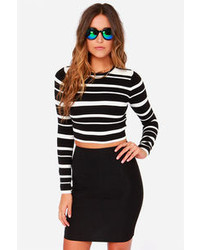 Crop Culture Black And White Striped Cropped Sweater