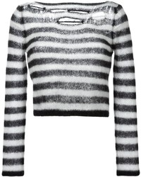 Saint laurent distressed cropped sweater medium 322346
