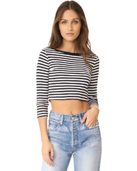 Three Dots 34 Sleeve Crop Top