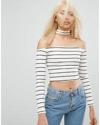 Arrive bardot stripe crop top with collar medium 5023552