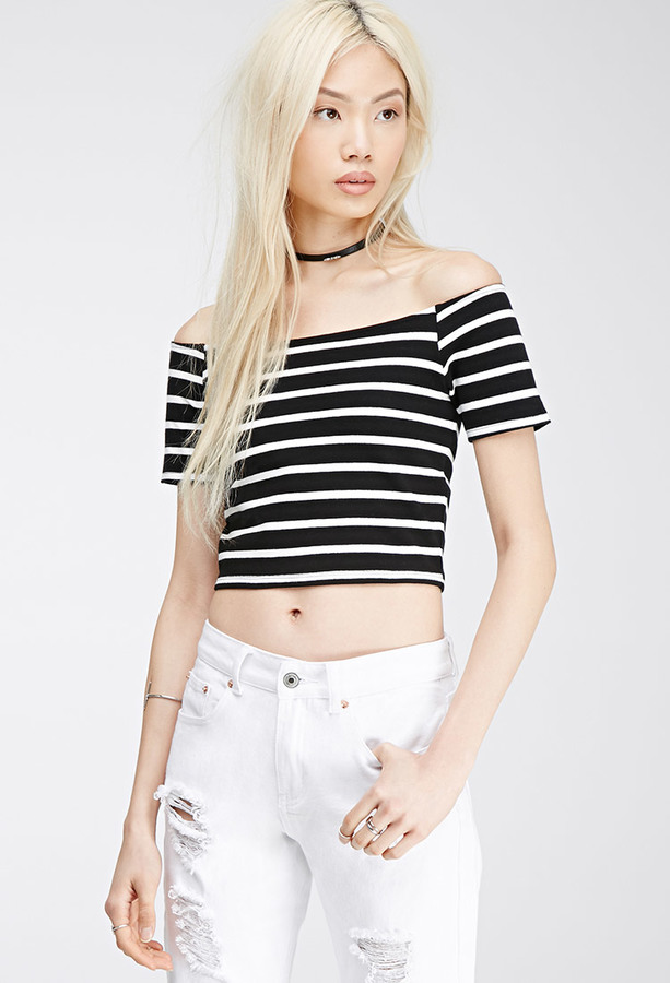 305255b7c419e6 Striped Off The Shoulder Top. Black and White Horizontal Striped Cropped Top  by Forever 21