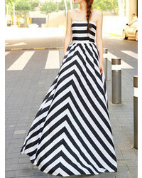 Limited edition black stripe off shoulder maxi dress medium 71043