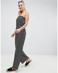 ASOS DESIGN Bandeau Jersey Jumpsuit With Wide Leg In Stripe Print