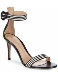 Striped leather ankle strap sandals medium 6990086