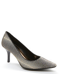 Black and White Horizontal Striped Leather Pumps