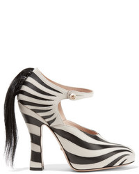 Goat hair trimmed leather pumps zebra print medium 3650389